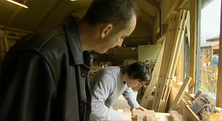 Nick-Burborough in the workshop with Kevin McCloud looking on