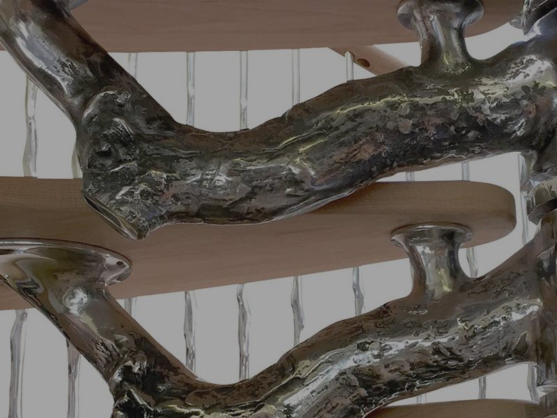 Tree spiral staircase cast in aluminium from real tree parts