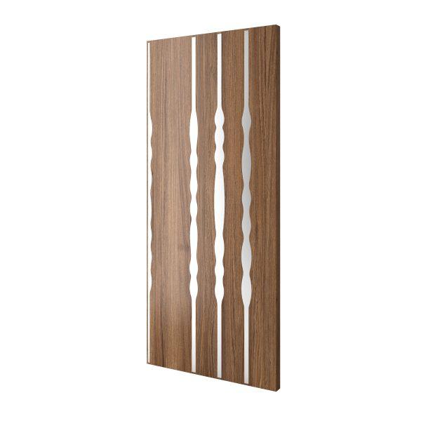Pod Steel Pattern Inlaid on Wooden Door