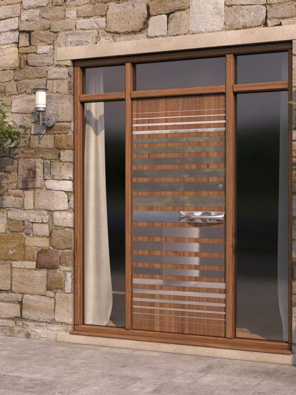 Strata 2 Wood & Steel Patterned Front Door
