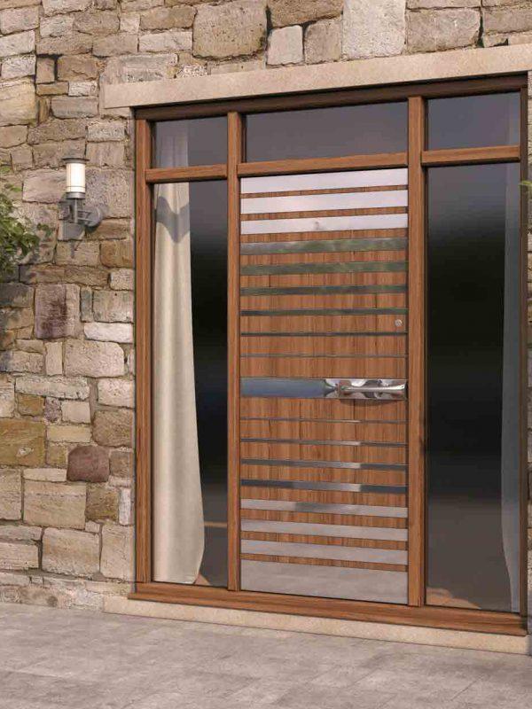 Strata 3 Wood & Steel Pattern Front Door