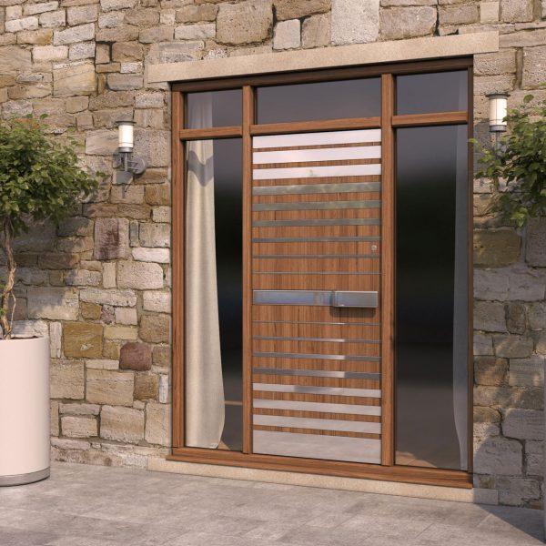 Strata 4 Wood & Steel Pattern Door