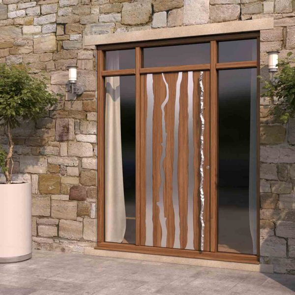 Steel Woodland Branches Inset in Wood Door